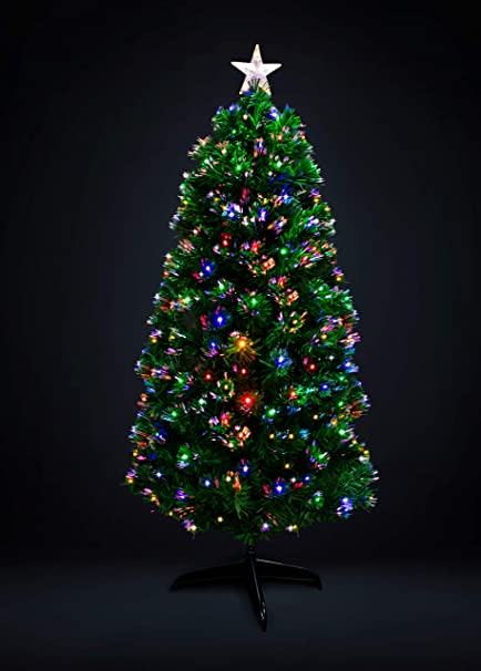 c3322c5785261 HBS Ltd Green Artificial Super Fibre Optic Christmas Xmas Tree with Multi  LED Bulbs T824V12 (5ft - 150cms)  Amazon.co.uk  Kitchen   Home