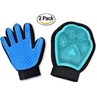Pet Grooming Glove Kit,Set of 2 - Jusdo 2-in-1 Pet Hair Remover Mitt,Gentle Deshedding Glove and Massage Tool+Bathing Brush-Enhanced Five Finger Design-Comb for Dogs, Cats, Horses, Rabbits