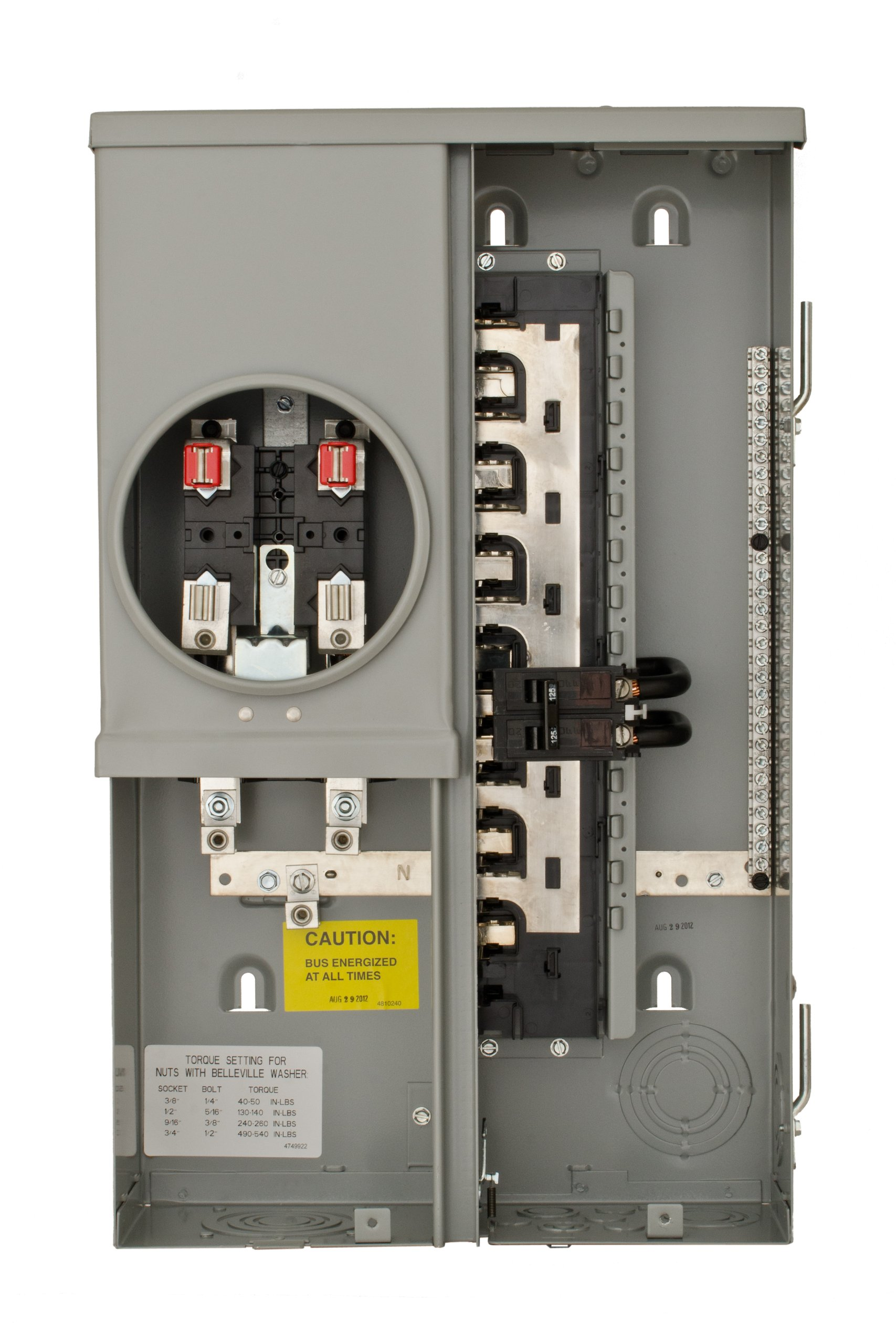 Siemens MC1224B1100ESC 12 Space 24 Circuit 100-Amp Surface Mount Meter Load Center Combination with Ring Type Cover