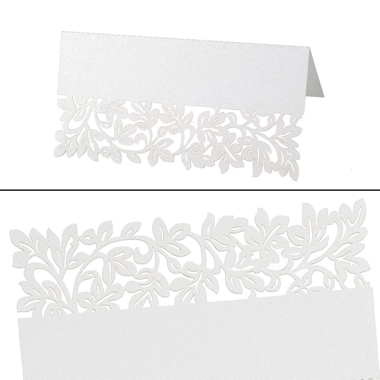 Jolintek 100 Pi/èces Carte de Table Noms Forme de Fleur Creux Nom Carte Motif Dentelle pour D/écoration Mariage F/ête Anniversaire Cr/ème