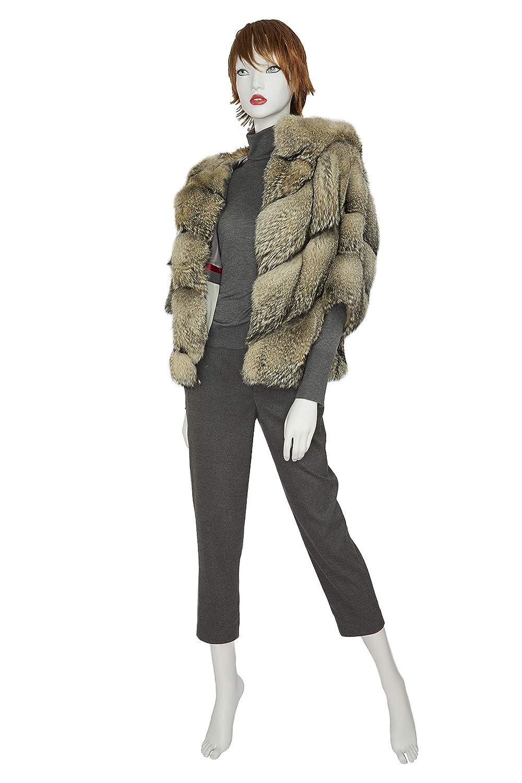 Giacca donna Pelliccia di Volpe Patagonia colore Naturale cappuccio