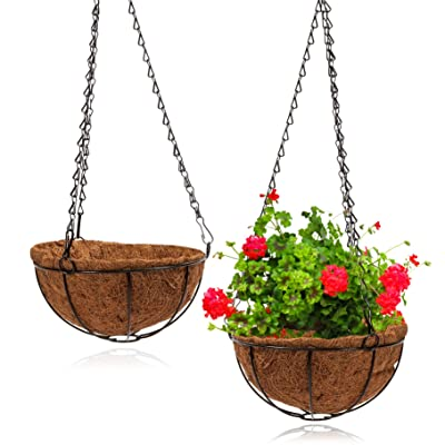 Hanging Flower Pot Basket (8 x 21 in, 2 Pack): Garden & Outdoor