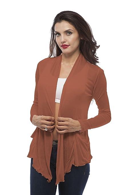 Light Weight Flyaway Cardigan Shawl Collar Shrug with Drape Pockets Cardi Plus Size (3XL, Dark Mustard)