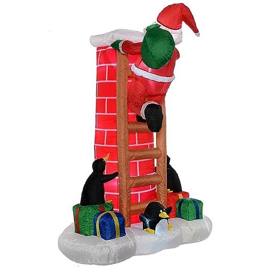 Hinchable preiluminado decorativo navideño de Papá Noel ...