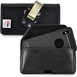 product image for Turtleback Belt Case Designed for iPhone 11 Pro Max (2019) and iPhone Xs MAX (2018) Holster Black Leather Pouch with Heavy Duty Rotating Belt Clip, Horizontal Made in USA