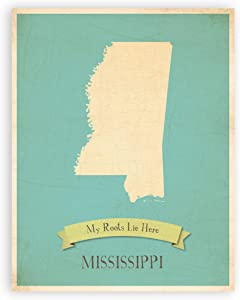 My Roots Mississippi Personalized Wall Map 11x14, Kid's Mississippi Map Wall Art, Children's Mississippi Vintage State Map, MS Wall Art Print, Nursery Decor, Nursery Wall Art