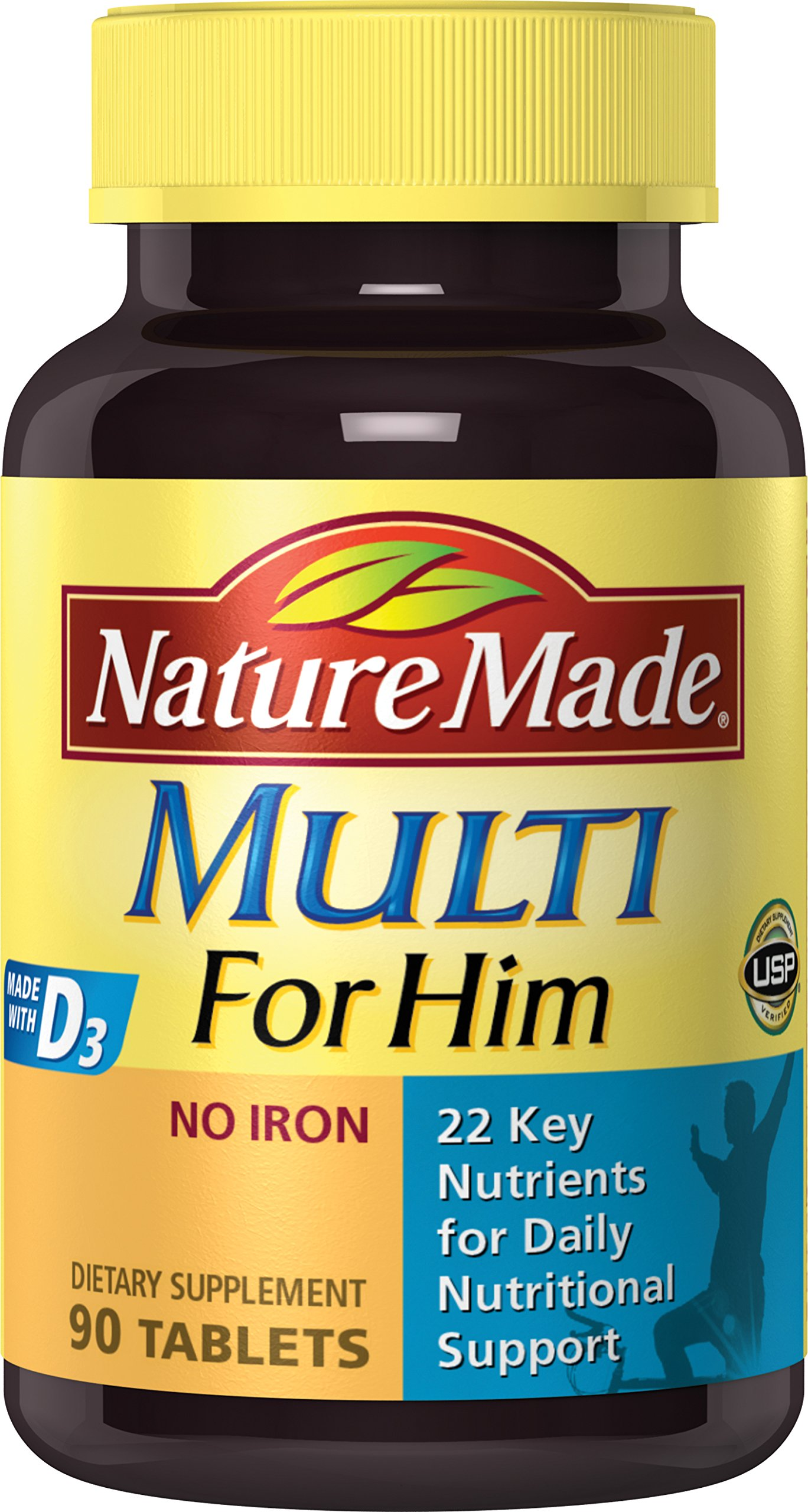 Nature Made Multi for Him Tablets w. D3-22 Essential Vitamins & Minerals 90 Ct
