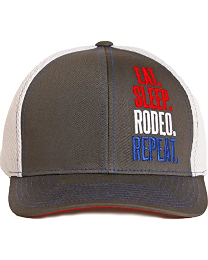 77fc775197f Dale Brisby Men s Eat Sleep Rodeo Repeat Cap Red One Size at Amazon ...