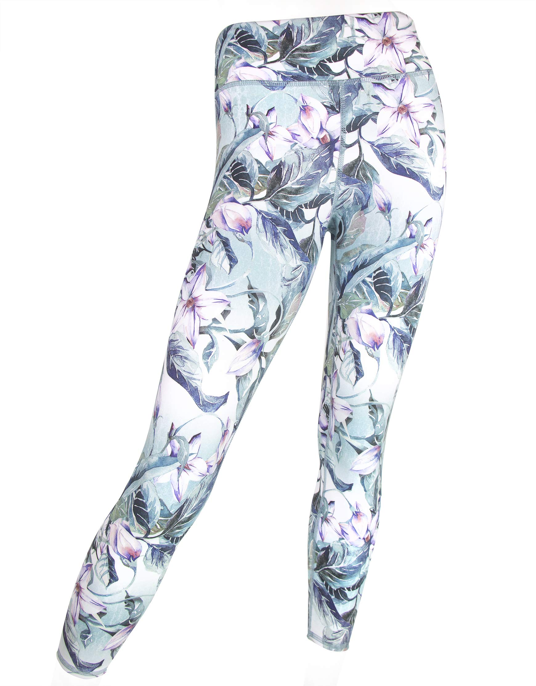 EVCR Compression Leggings for Women - 7/8 Length Non See Through Soft Athletic Yoga Pants for Workout, Spring Bloom, Large by EVCR