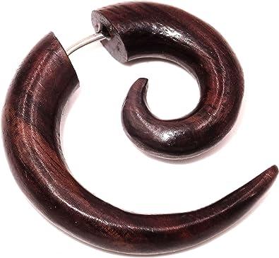 Piercing de madera dilatación falsa - Pendiente étnico, espiral de ...