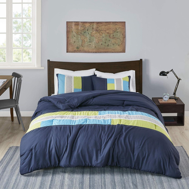 MI ZONE Cozy Comforter Set Geometric Stripes Vibrant Color Design All Season Bedding Matching Shams, Decorative Pillow, Full/Queen, Navy