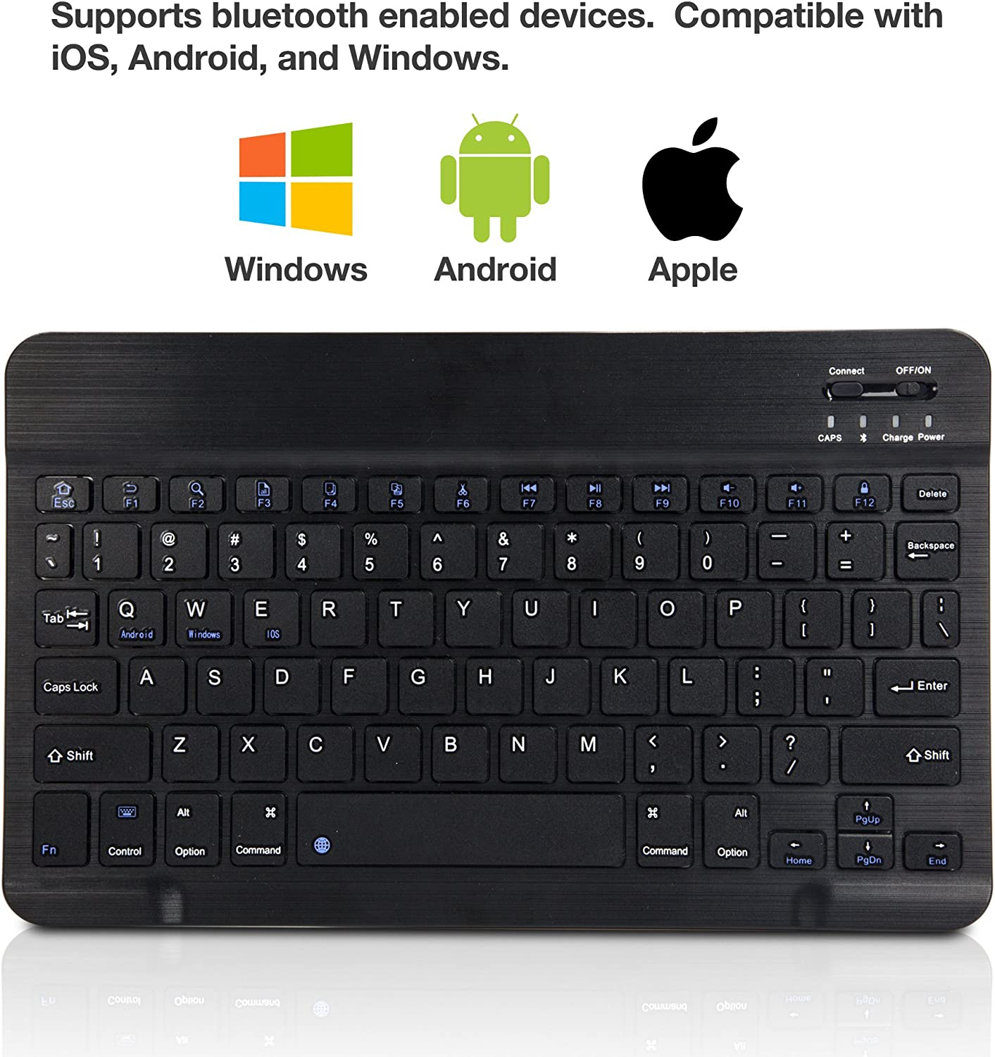 Portable Keyboard with Integrated Commands for iBall Slide Elan 3x32 iBall Slide Elan 3x32 Keyboard BoxWave Jet Black SlimKeys Bluetooth Keyboard