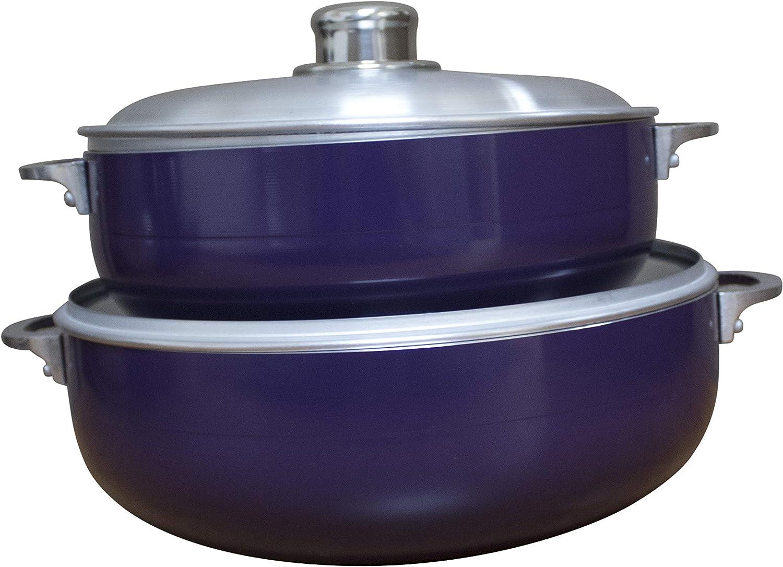 Oven Safe IMUSA USA CHI-80680 2 Piece Purple Caldero 4.4Qt, 6.9Qt Dutch Oven Set with Aluminum Lid
