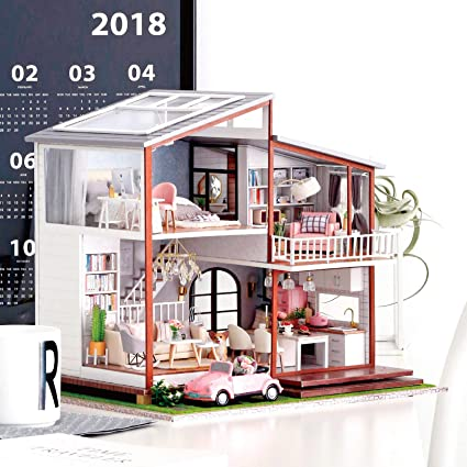 1//24 DIY Wood 3D Miniature Dollhouse Model Kit American Style Seattle Villa