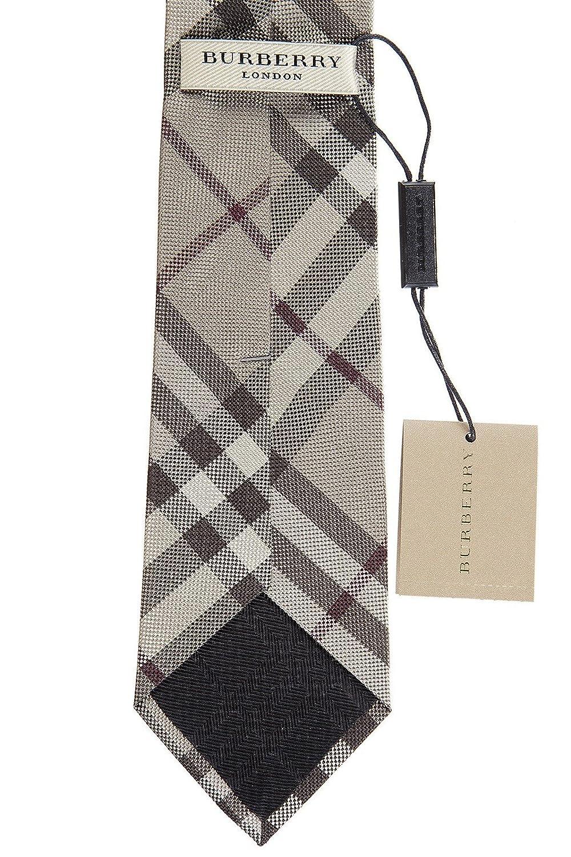 Burberry corbata de hombre en seda nuevo manston beige: Amazon.es ...