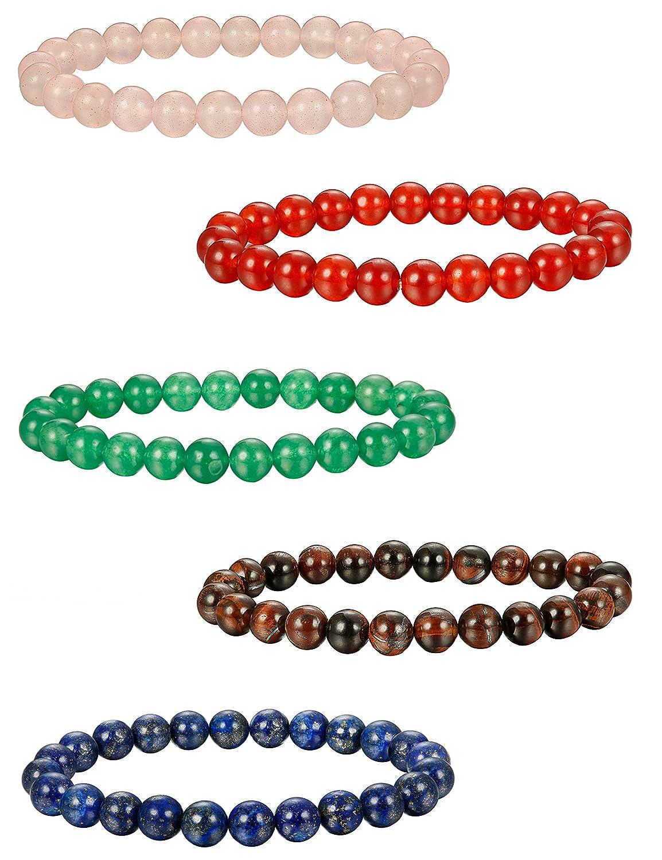 Elastique BESTEEL 5PCS 8MM Bracelet Pierre Naturelle pour Homme Femme Couple Boules Oeil de Tigre Bracelets Amiti/é