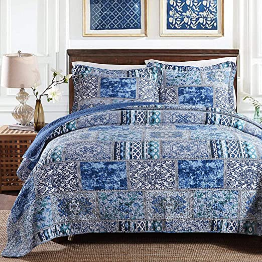 NEWLAKE Cotton Bedspread Quilt Sets-Reversible Patchwork Coverlet Set Boho Chic Pattern,Twin Size