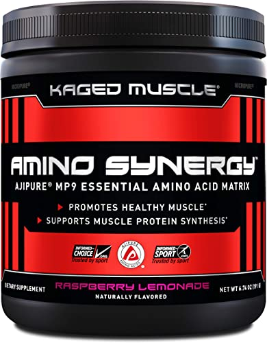 Kaged Muscle Amino Synergy, Vegan EAA Powder, Essential Amino Acid Supplement with Coconut Water, Essential Aminos, EAA s, Raspberry Lemonade, 30 Servings