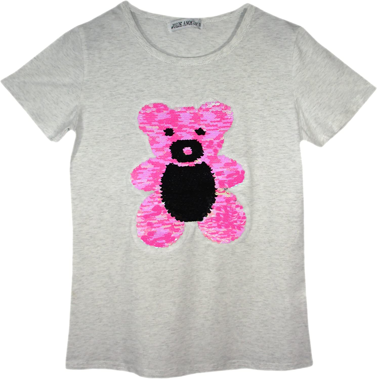 GIRLS CAT TEDDY BEAR PENGUIN T-SHIRT TEE TOP BRUSH CHANGING SEQUIN AGE 3-14 Y