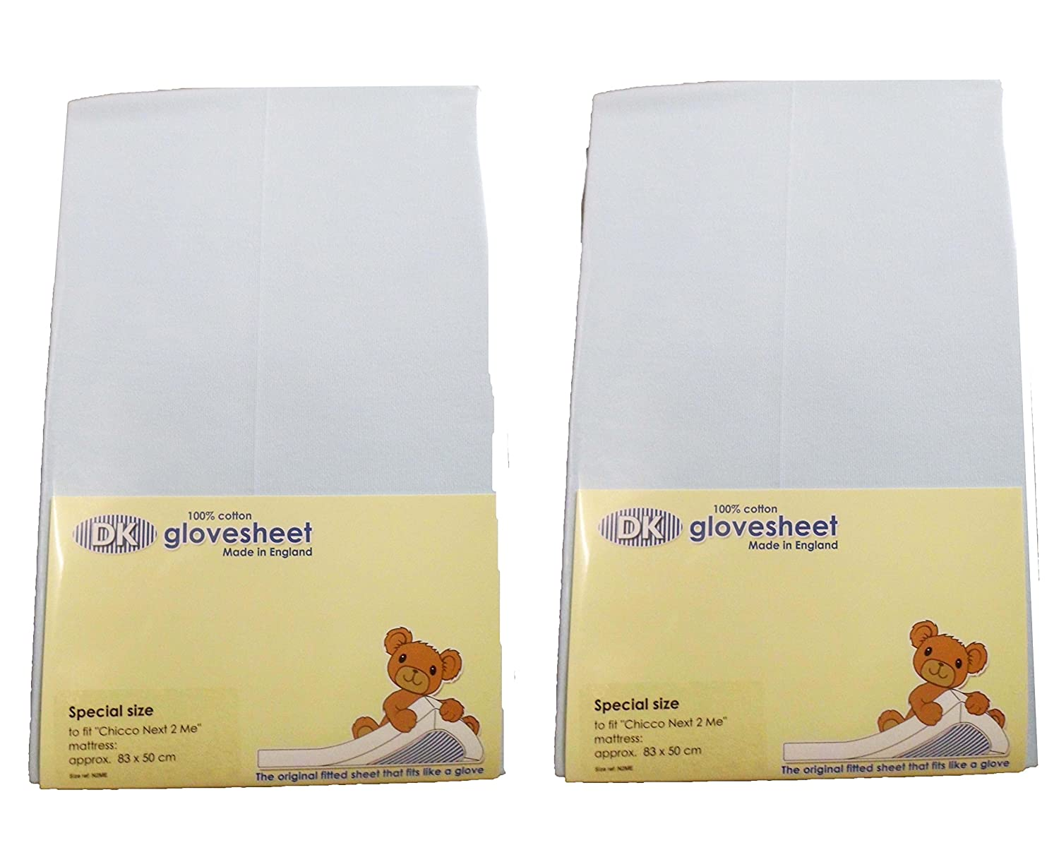 DK Glovesheets Two Fitted 83 x 50cm Crib Sheets 100% Combed Jersey Cotton - Compatible With The Next To Me Mattress - BABY BLUE - TWO PACKS BABY best BUYS 83X50B