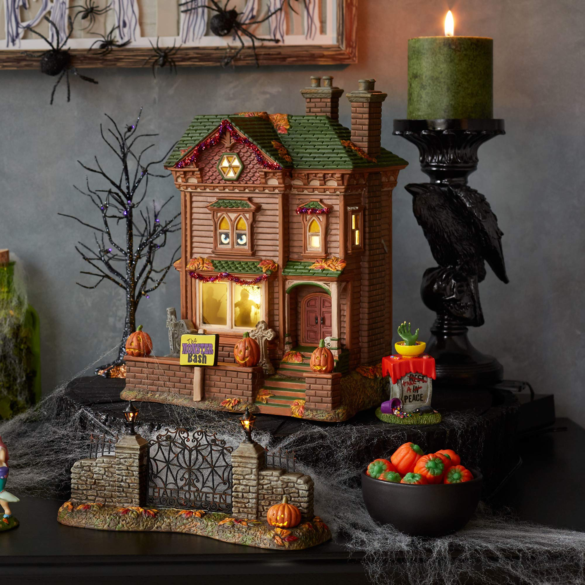 Department56 Snow Village Halloween Monster Mash Party House Animated Musical Lit Building 10'' Multicolor