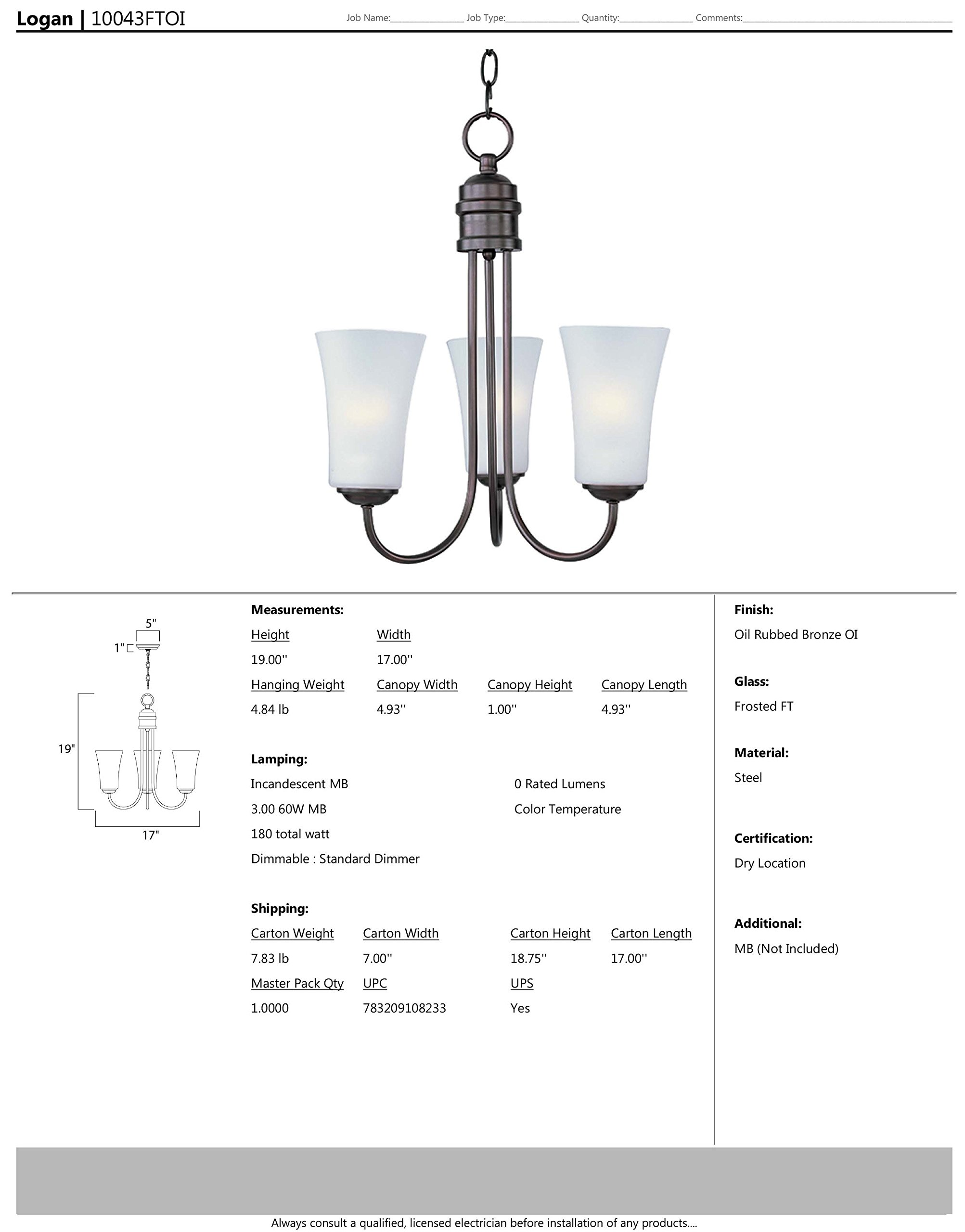 Maxim 10043FTOI Logan 3-Light Chandelier Wall Sconce, Oil Rubbed Bronze Finish, Frosted Glass, MB Incandescent Incandescent Bulb , 100W Max., Dry Safety Rating, Standard Dimmable, Glass Shade Material, 3450 Rated Lumens by Maxim Lighting (Image #2)