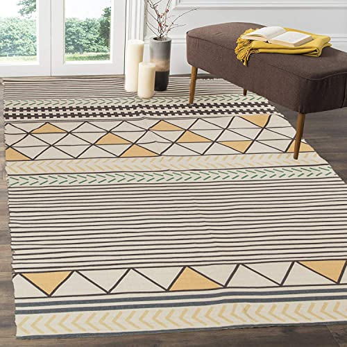 HEBE Large Cotton Rug 4 x6 Washable Modern Handmade Flat Woven Cotton Area Rugs for Living Room,Kids Room,Bedroom