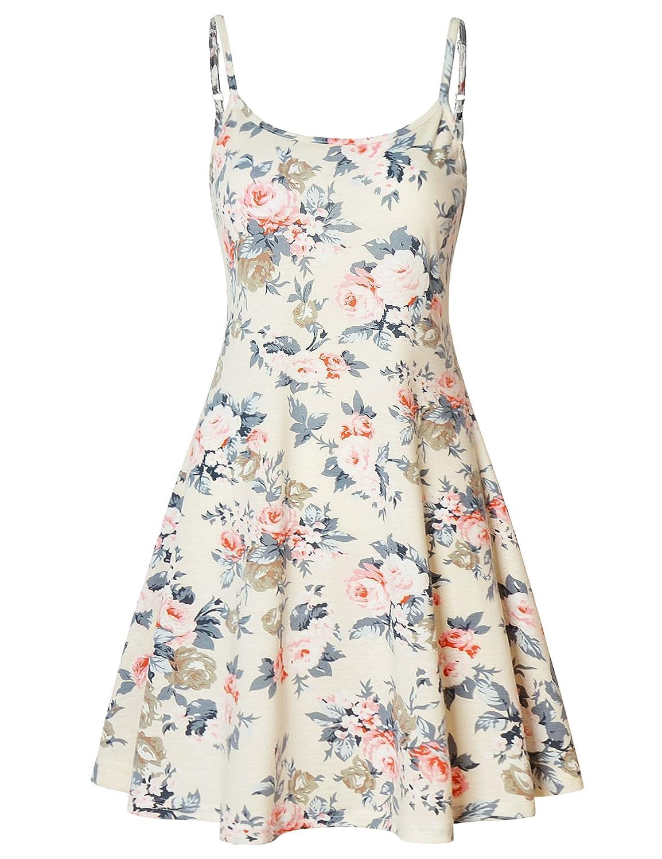 Ivory Perfashion Women's Sleeveless Adjustable Strappy Summer Beach Swing Midi Dress Spaghetti Strap Sun Dress