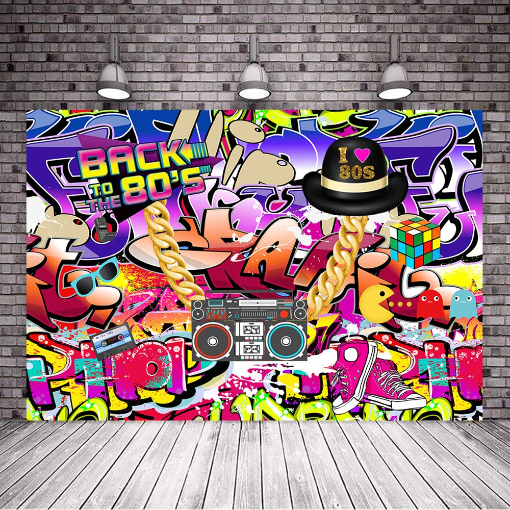 Mehofoto Hip Pop 80s Backdrop Graffiti Wall Theme Photo Backdrops 7x5ft  Back to The 80s Background for Birthday Party Studio Props