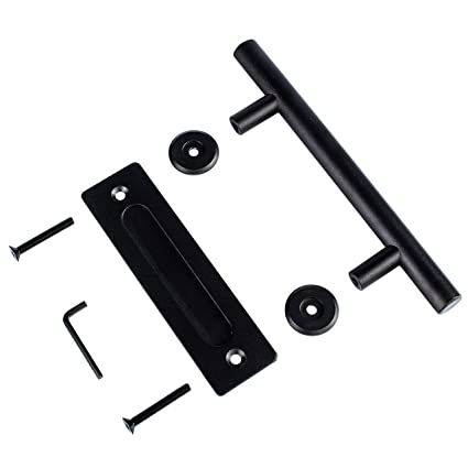 "12"" large barn door handle pull and flush set black stainless steel sliding gate hardware for interior and exterior doors, easy to install and heavy"