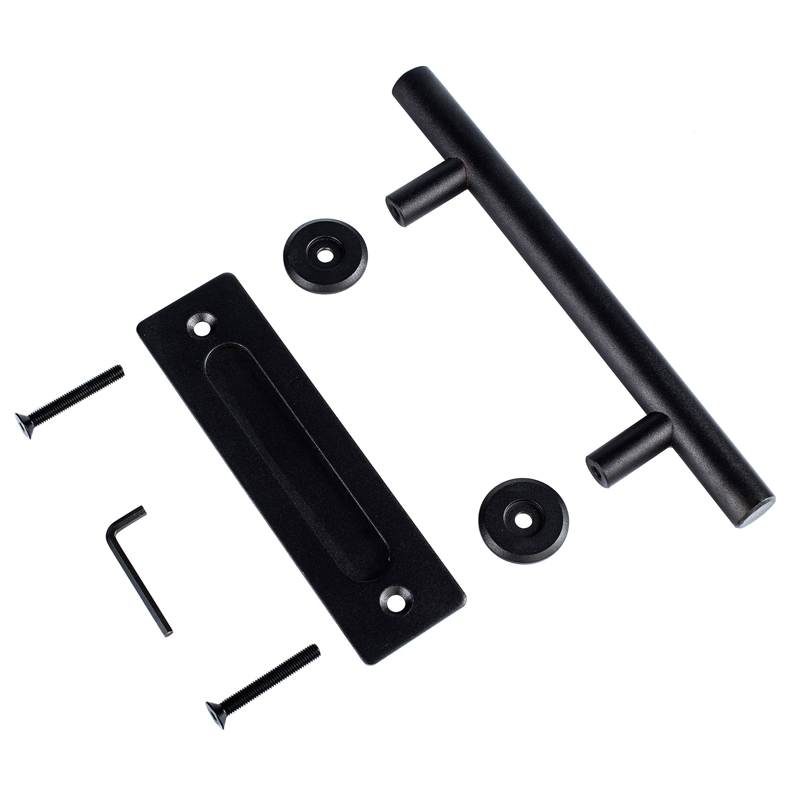 12'' Large Barn Door Handle Pull and Flush Set - Black Stainless Steel Sliding Gate Hardware for Interior and Exterior Doors, Easy to Install and Heavy Duty - 2 Sets of Mount Screws Included