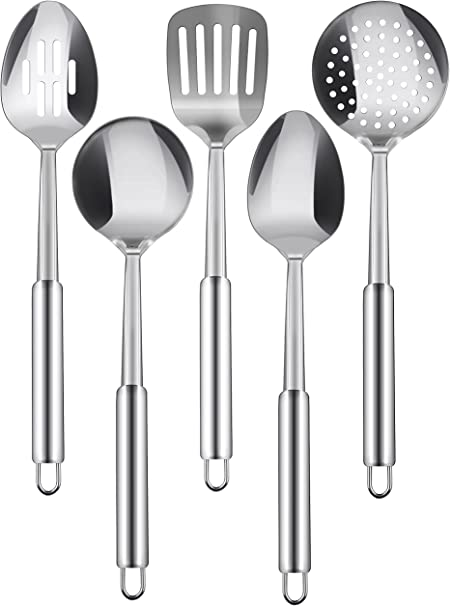 Includes Solid Spoon Square Spoon /& MultiServer Slotted Spoon Oval Spoon Complete 5 Piece Stainless Steel Cooking /& Serving Spoon Set Modern Mirror Finish Flatware Heavy Gauge Durability