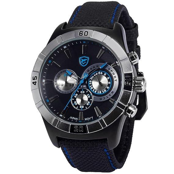 Ganges Shark Deportivos Relojes De Pulseras Hombre Nylon 24 Horas Cronógrafo SH288: Amazon.es: Relojes