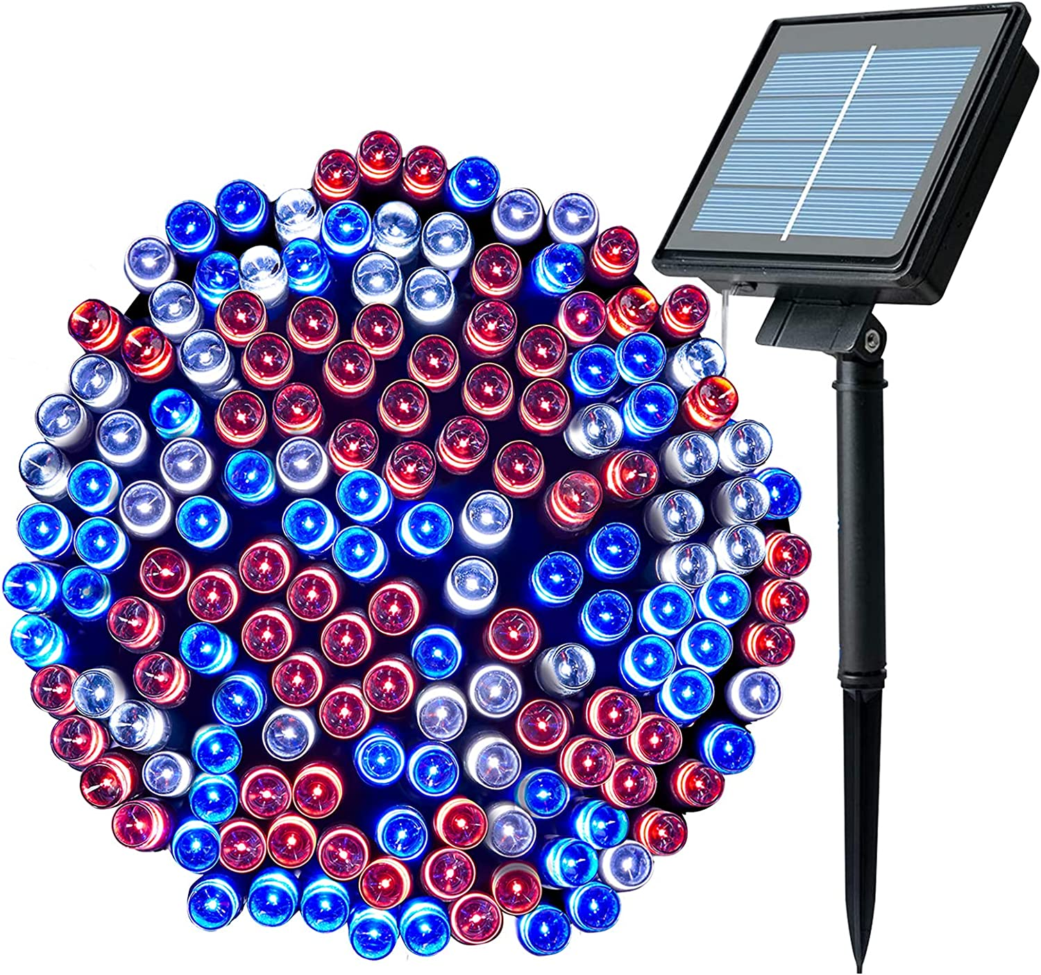 Solar String Lights Outdoor 72 Ft. 200 LED Red Blue White Lights 8 Working Modes Fairy Lights Solar Operated Waterproof Independence Day Lights for Indoor Party Patio Patriotic Theme Holiday Decor