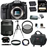 Sony A77II Digital SLR Camera (Body Only) with Sony DSLR SAL-55200/2 SAL 55-200mm F4-5.6 Sam Lens and 64GB Deluxe Accessory Kit