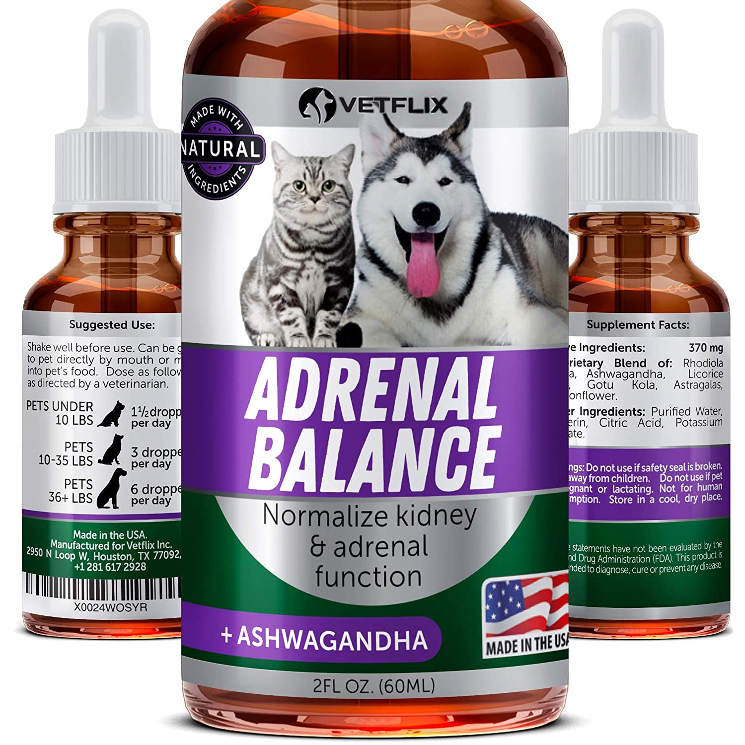VETFLIX Cushings Treatment for Pets – Made in USA – Adrenal Support for Dogs Cats – Pet Supplement with Ashwagandha – Dog Kidney Adrenal Gland Balance – Cat Dog Supplement for Kidney Support