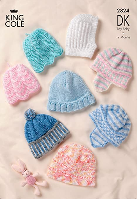 King Cole 2824 Knitting Pattern Baby Hats In King Cole Dk Amazon