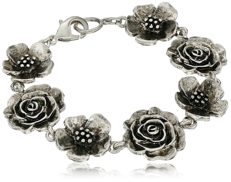 """1928 Jewelry Silver-Tone Flower Clasp Link Bracelet, 7"""""""