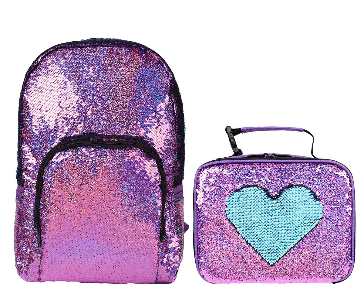 Flip Sparkle Reversible Sequin School Bag Backpack for Kids and Girls with Insulated Sequin Lunch Box Tote Bag, Food&Lunch Containers with Wispeable Interior, Fun&Fashion, Set of 2 (Violet/Light Blue)