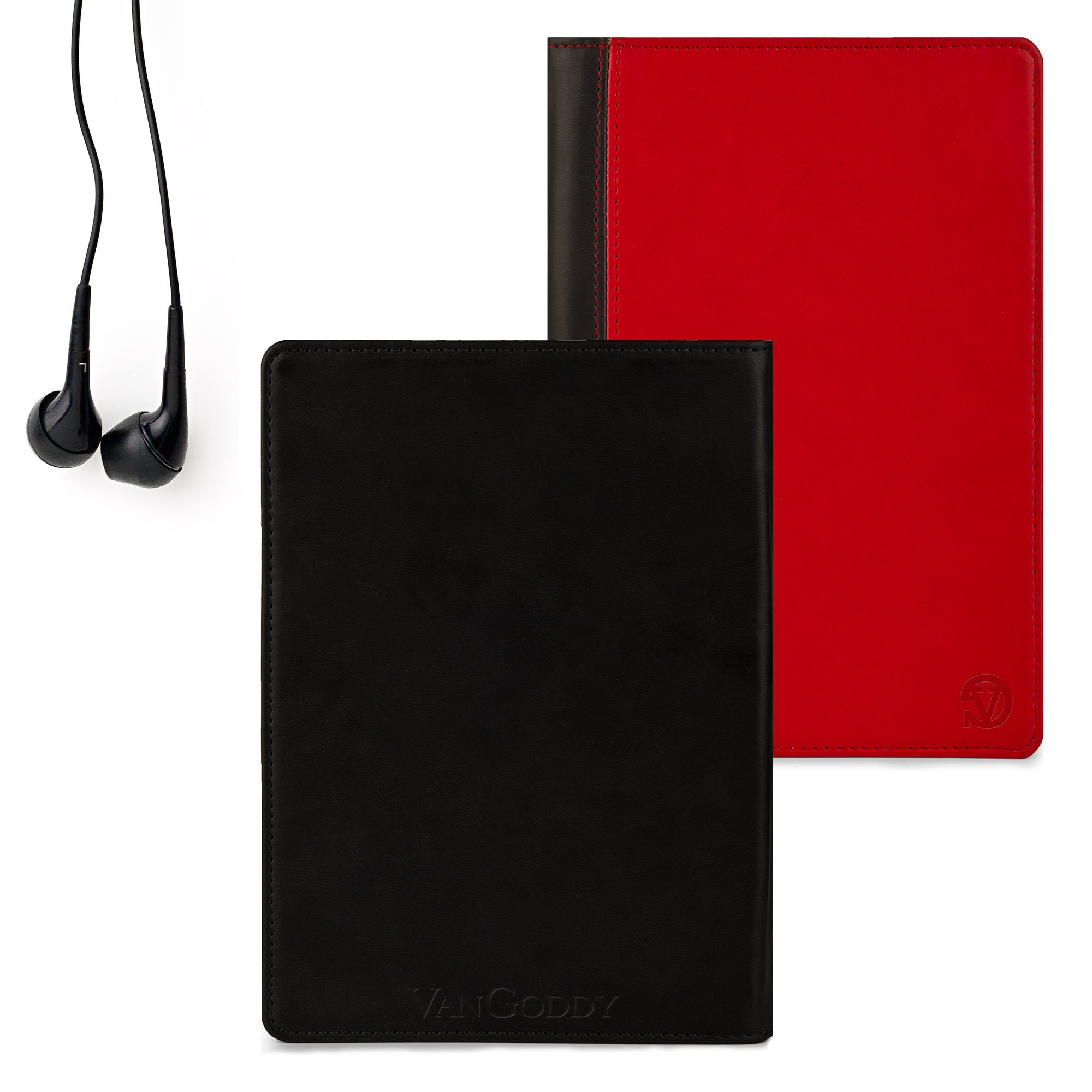 Quality Book Style, Red on Black Vangoddy Brand Mary Collection Leather -ette Portfolio Cover Cases for All Models of the Pantech Element P4100 8-inch HD Waterproof Android Tablet + Compatible Black Earbud Earphones