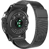 Garmin Fenix 3 Watch Band, MoKo Milanese Loop Stainless Steel Replacement Bracelet Strap for Fenix 3 / Fenix 5X Smart Watch with Unique Magnet Lock, No Buckle Needed, BLACK