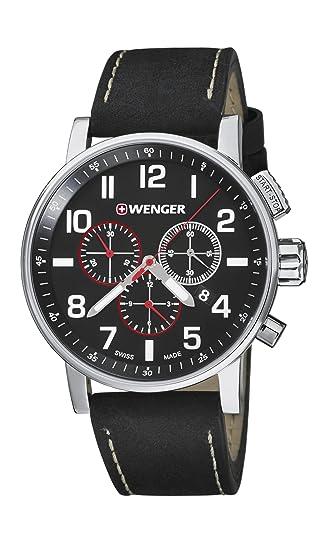 WENGER Reloj Analógico para Unisex Adultos de Cuarzo con Correa en Cuero 01.0343.102 Attitude Chrono: Amazon.es: Relojes
