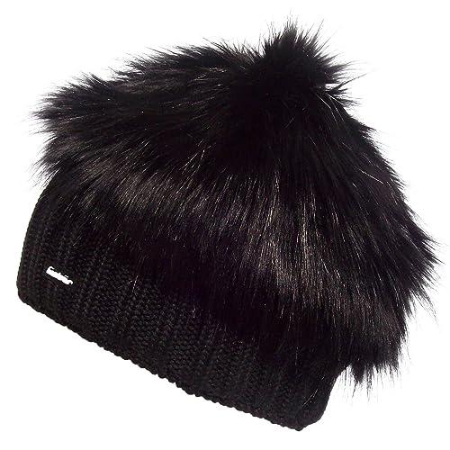Eisbar (Polar Bear) Trapper Funky Hair Merino Wool Winter Sports Hat (Black) 122a325d0882