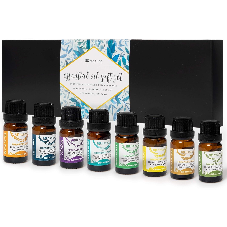 Premium Quality Essential Oils Set - Top 8 Essential Oil Starter Kit - 100% Pure Highest Quality Essential Oil Set For Diffuser - Essential Oil Kit & Recipe Ideas