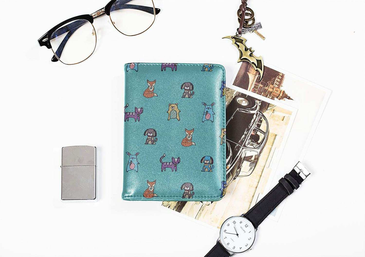 Colorful Passport Cover Cute Fashion Funny Animal Pet Cat Kids Passport Holder Cover Multi Purpose Print Leather Passport Cover Travel Wallets For Unisex 5.51x4.37 Inch