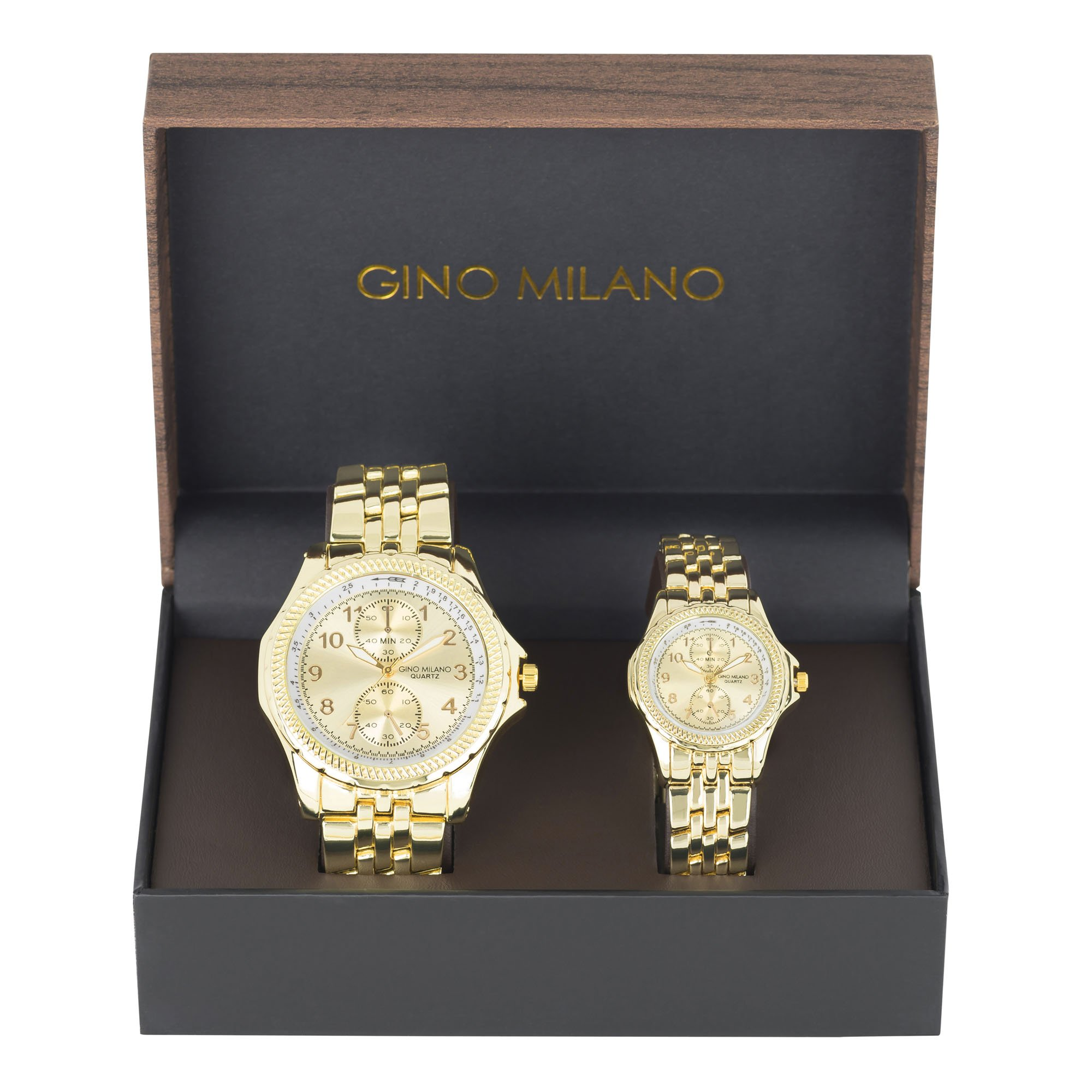 His and Her Watch Sets - 2 Piece Matching Gift Set by Gino Milano with Gift Box-6883 Gold