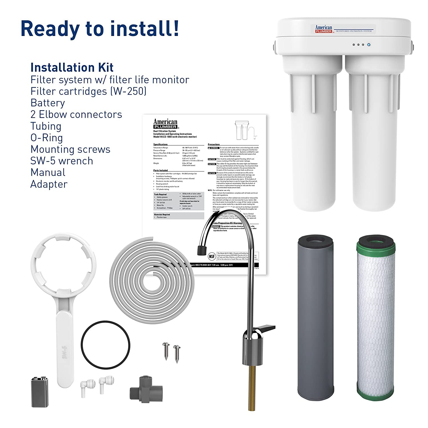 American Plumber Wlcs 1000 Under Sink Water Filter Counter Model Requires Plumbing And Electrical Work Your System Home Improvement