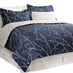 Bedsure 6-Piece Twin Size Bed-in-A-Bag, All Season Bedding Comforter Set Tree Branch Floral Pattern - Navy/Ivory (1 Comforter, 1 Pillow Sham, 1 Flat Sheet, 1 Fitted Sheet, 1 Bed Skirt, 1 Pillowcase)