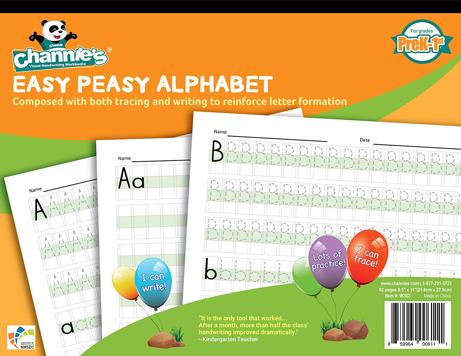 Channie's W302 EASY PEASY ALPHABET HANDWRITING WORKBOOK COMBINE BOTH TRACING & WRITING. LOTS PRACTICES! MOST VISUAL & SIMPLE WORKBOOK ON THE MARKET : Office Products