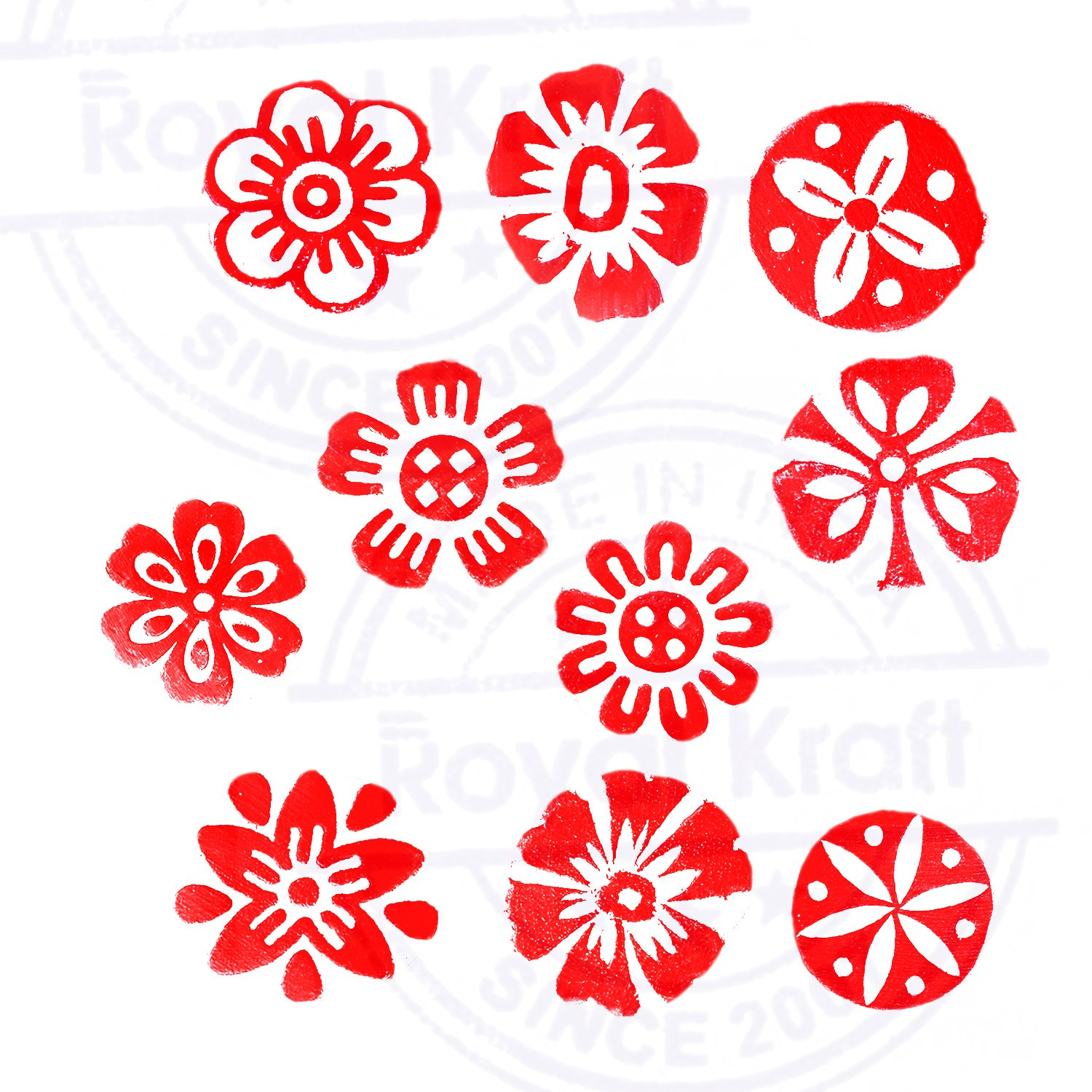 Set of 10 Henna Wood Stamps Exclusive Small Round Design Printing Blocks